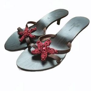TOMMY BAHAMA Wood Sandal Leather Star Beaded Italy